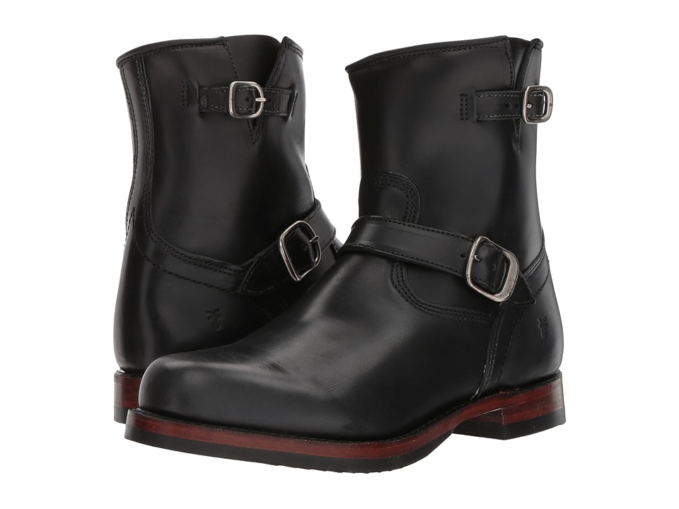 Frye John Addison Inside Zip Engineer (Black Smooth Full Grain) Men