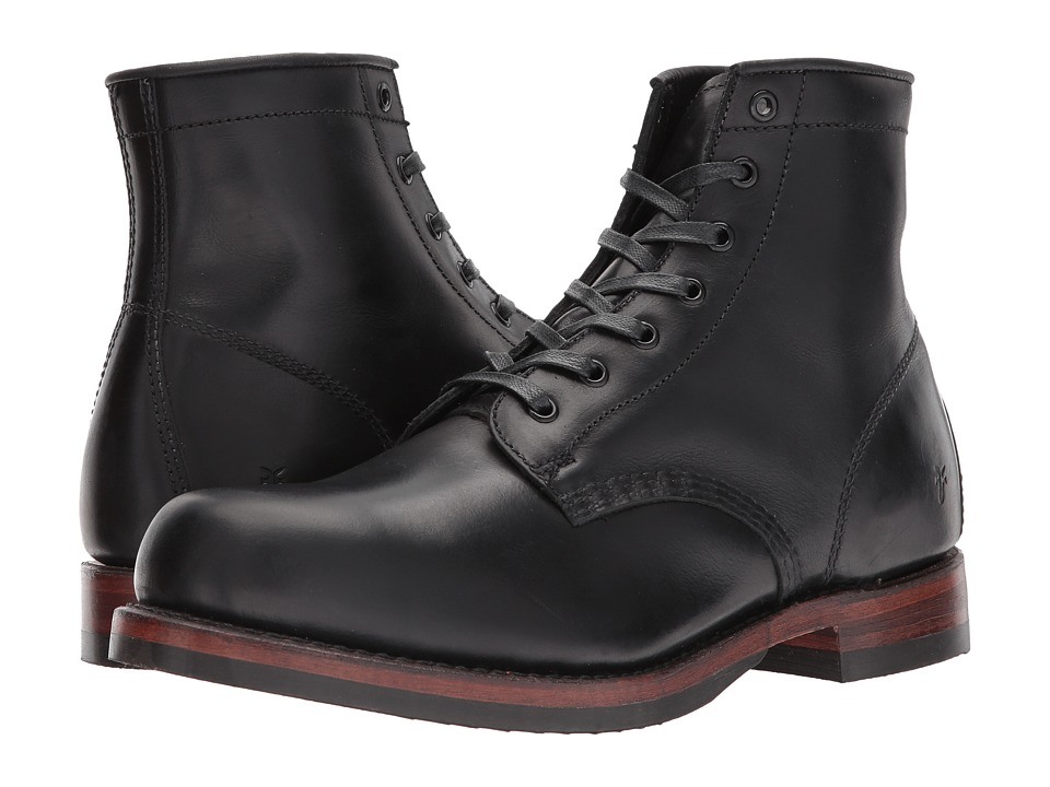 Frye John Addison Lace-Up (Black Waterproof Smooth Pull Up) Men