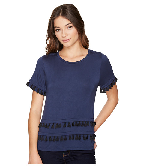 ROMEO & JULIET COUTURE Short Sleeve Double Layer Tassel Top
