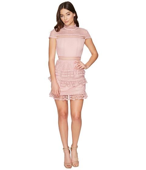 ROMEO & JULIET COUTURE Cap Sleeve Mock Neck Lace Dress