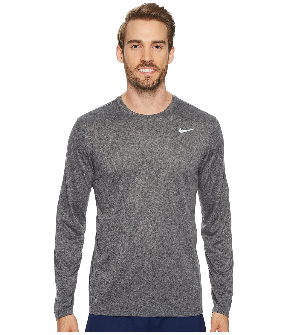 Nike Legend 2.0 Long Sleeve Tee (Charcoal Heather/Matte Silver) Men