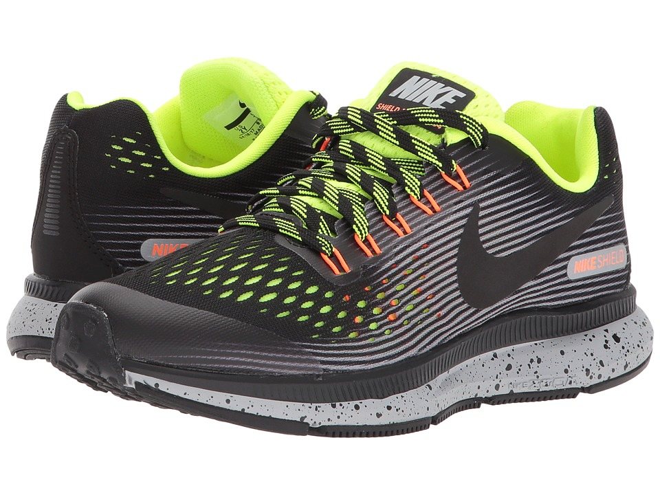 Nike Kids Air Zoom Pegasus 34 Shield (Little Kid/Big Kid) (Black/Black/Volt/Wolf Grey) Boys Shoes