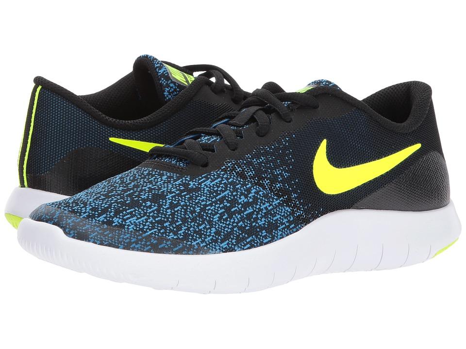Nike Kids Flex Contact (Big Kid) (Black/Volt/Photo Blue/White) Boys Shoes