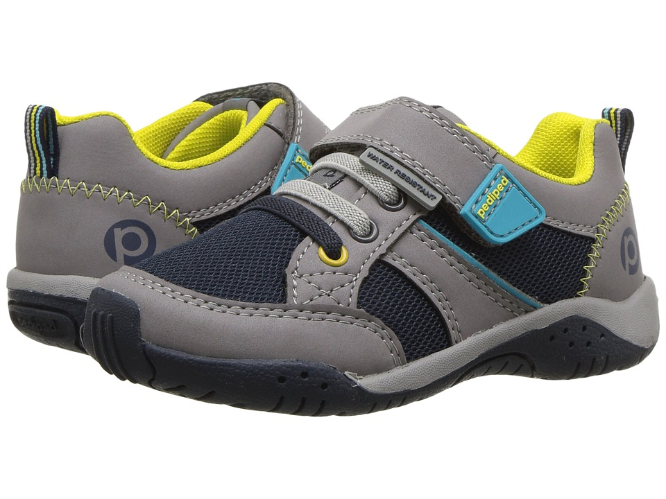pediped Justice Flex (Toddler/Little Kid) (Grey/Navy) Kid's Shoes