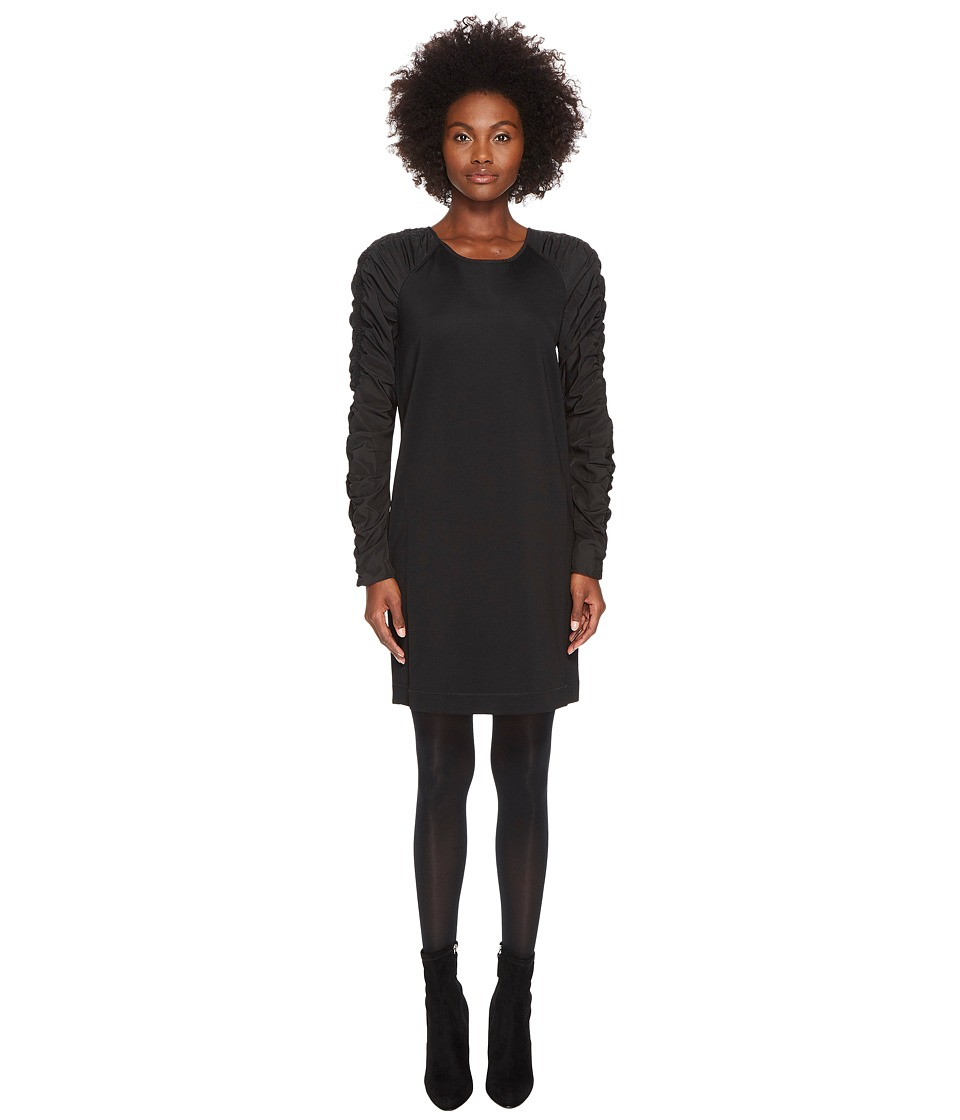 Sportmax Gap Long Sleeve Jersey Nylon Sleeves Dress (Blac...