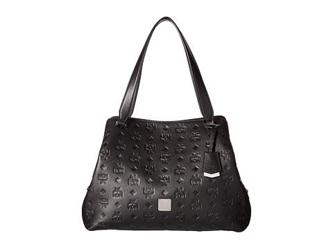 MCM Essential Monogrammed Leather Medium Hobo - Black