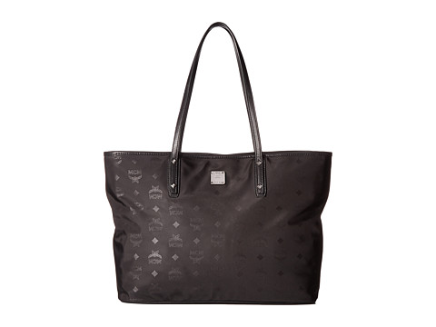 MCM Dieter Monogrammed Nylon Top Zip Medium Shopper - Black