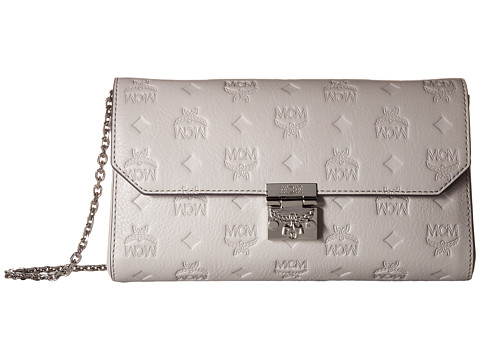 MCM Millie Monogrammed Leather Small Crossbody - Dove