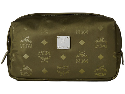 MCM Dieter Monogrammed Nylon Small Cosmetic Pouch - Loden Green