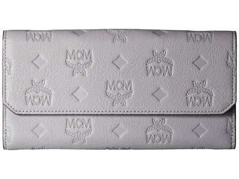 MCM Klara Monogrammed Leather Flap Wallet - Dove