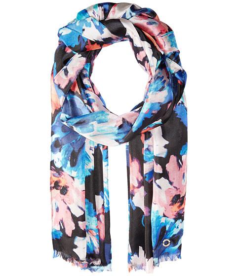 Calvin Klein Painted Floral Silk Scarf - Coral