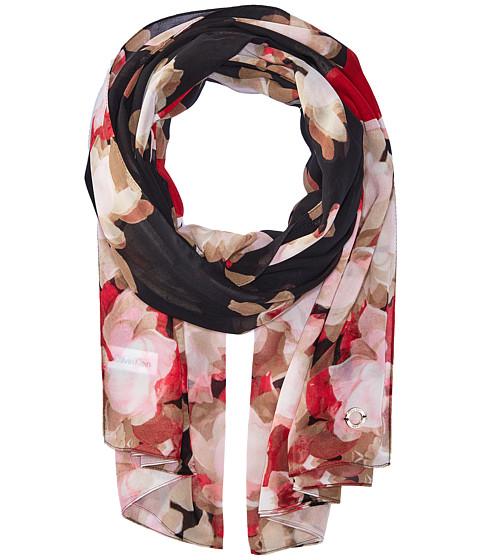 Calvin Klein Floral Color Block Chiffon - Rouge