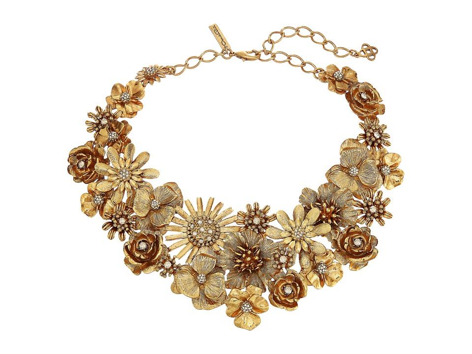 Oscar de la Renta - Large Gilded Floral Necklace (Crystal Gold Shadow) Necklace