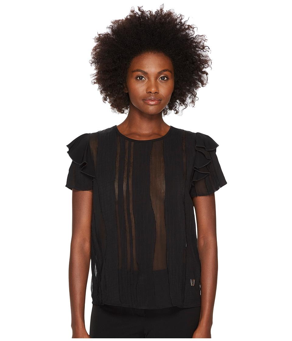 Versace Jeans - Sheer Paneled Flutter Cap Sleeve Top
