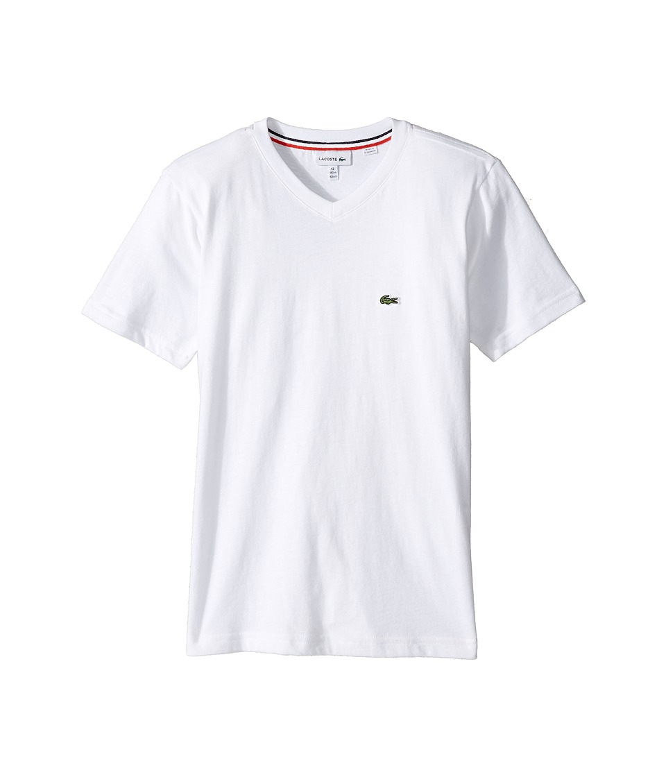 Lacoste Kids - Short Sleeve Solid V-Neck T-Shirt (Toddler/Little Kids/Big Kids) (White) Boys T Shirt