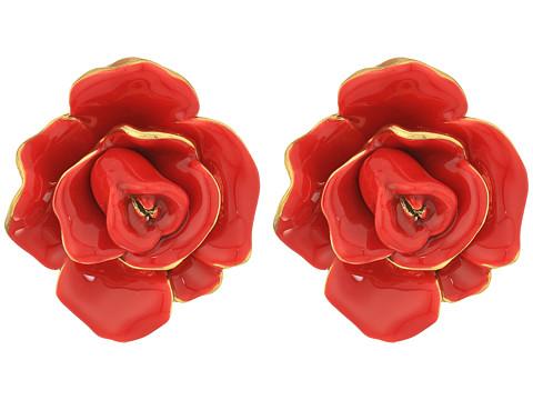 Oscar de la Renta Rosette Button C Earrings - Cinnabar