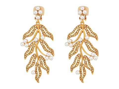 Oscar de la Renta Hammered Leaves C Earrings - Crystal Gold Shadow