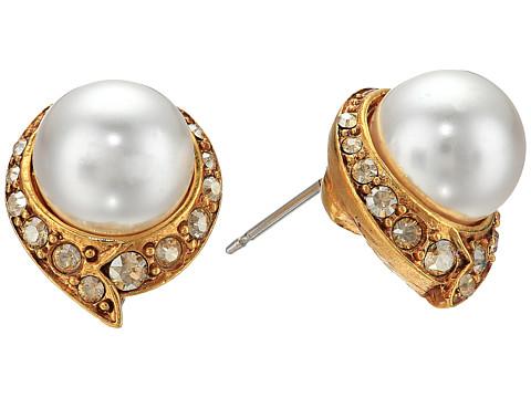 Oscar de la Renta Fanned Pearl Button P Earrings - Crystal Gold Shadow