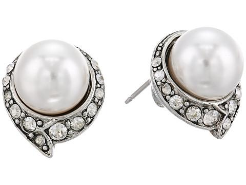 Oscar de la Renta Fanned Pearl Button P Earrings - Crystal Shade/Silver