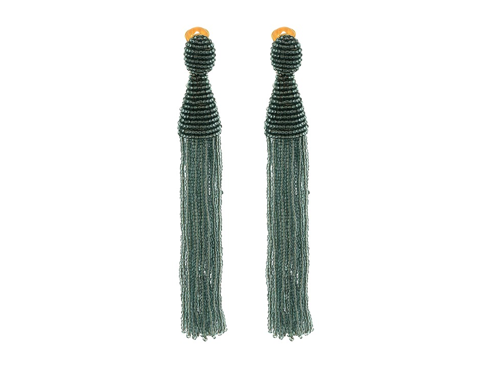 Oscar de la Renta - Long Beaded Tassel C Earrings (Steel) Earring