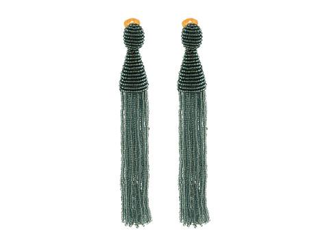 Oscar de la Renta Long Beaded Tassel C Earrings - Steel