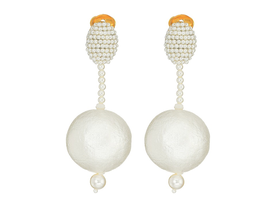 Oscar de la Renta - Pearl Drop Ball C Earrings (White) Earring