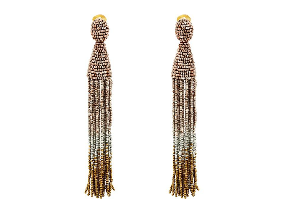 Oscar de la Renta - Long Ombre Beaded Tassel C Earrings (Rose Gold) Earring