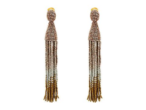 Oscar de la Renta Long Ombre Beaded Tassel C Earrings - Rose Gold
