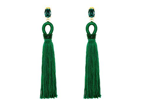 Oscar de la Renta Long Silk Tassel C Earrings - Emerald