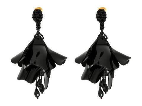Oscar de la Renta Large Impatiens C Earrings - Black