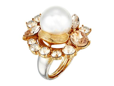 Oscar de la Renta Crystal Pearl Ring - Gold