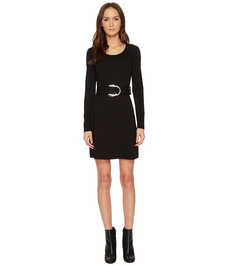 Versace Jeans Long Sleeve Scoop Neck Belted Dress (Nero) Women