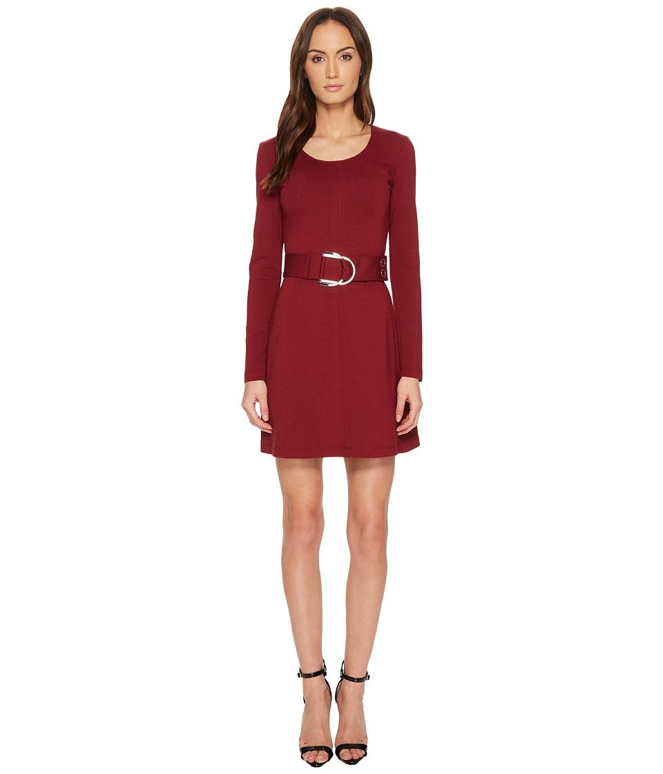 Versace Jeans Long Sleeve Scoop Neck Belted Dress (Rhododendron Red) Women
