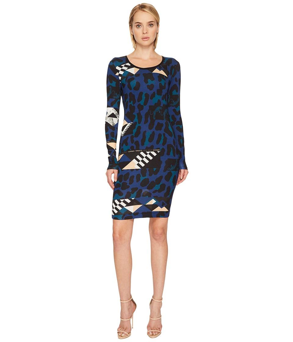 Versace Jeans Geo Animal Long Sleeve Scoop Neck Dress (Blue Astrale) Women