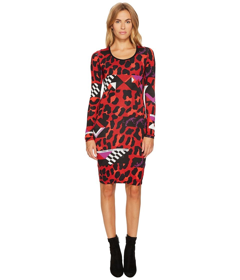 Versace Jeans Geo Animal Long Sleeve Scoop Neck Dress (Rosso Red) Women