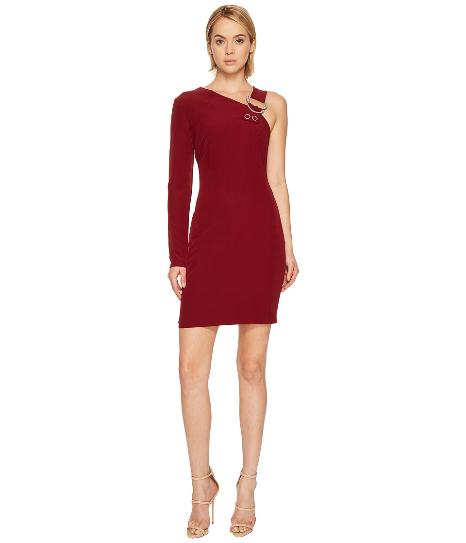 Versace Jeans One Shoulder Long Sleeve Dress (Rhododendron Red) Women