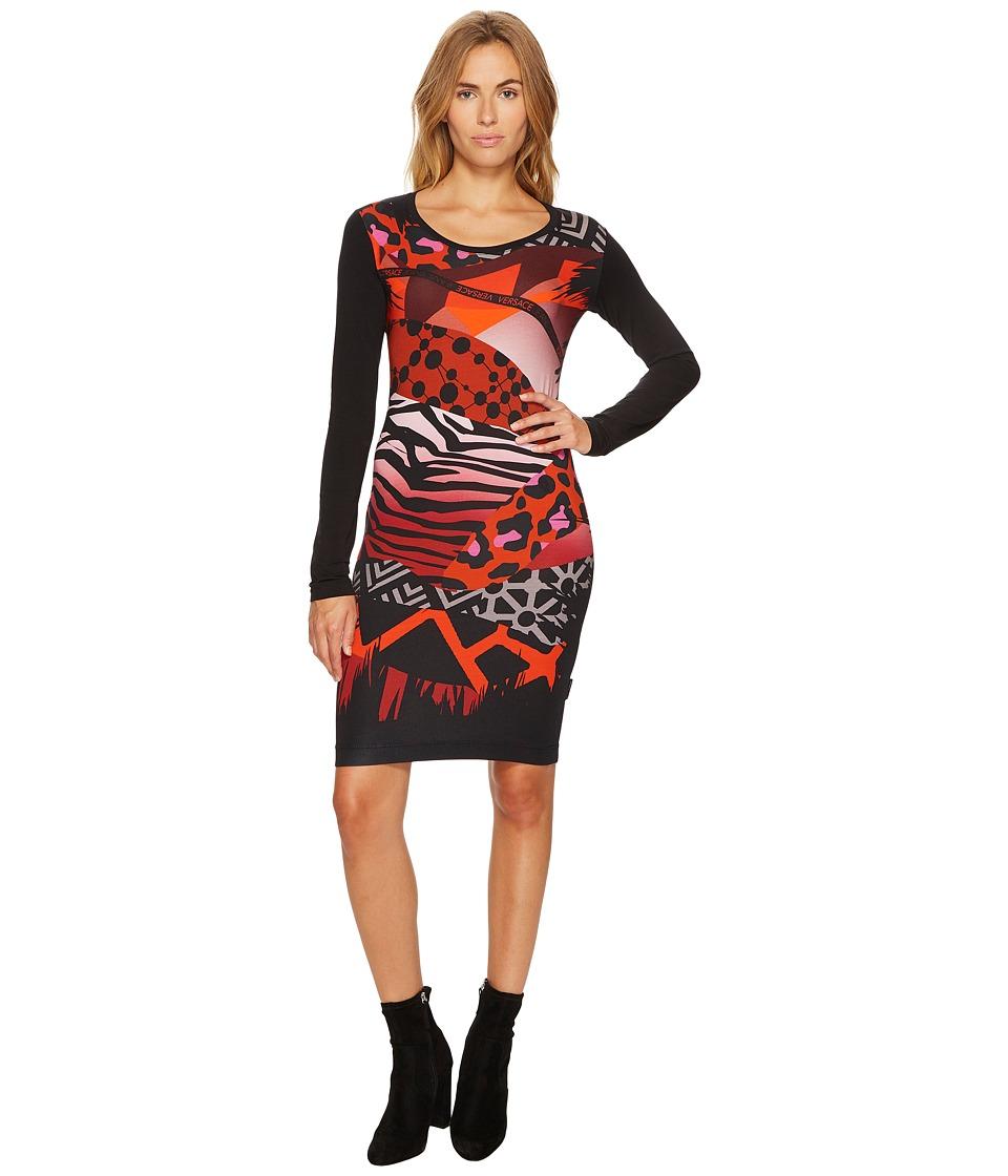 Versace Jeans Printed Long Sleeve Scoop Neck Dress (Nero) Women