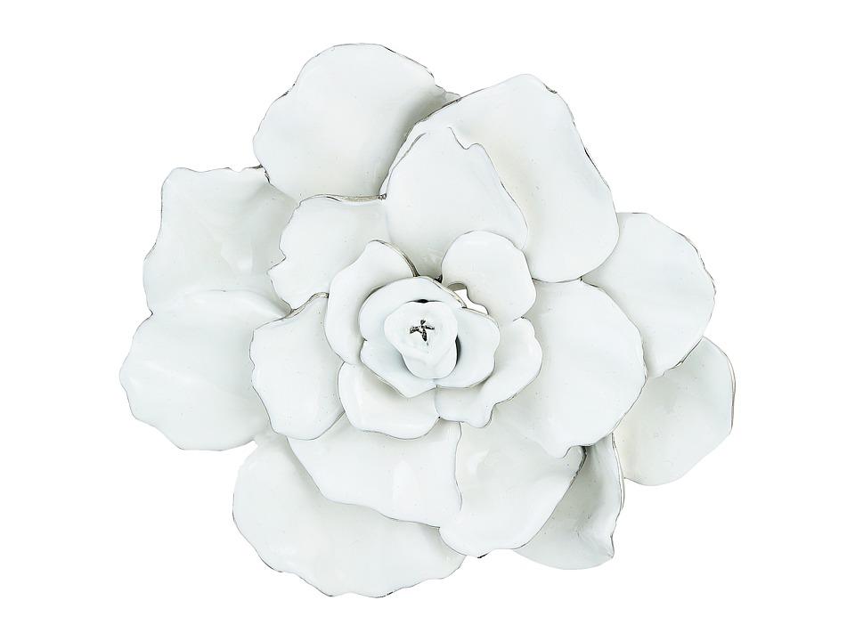 Oscar de la Renta - Large Rosette Brooch (White) Brooches Pins