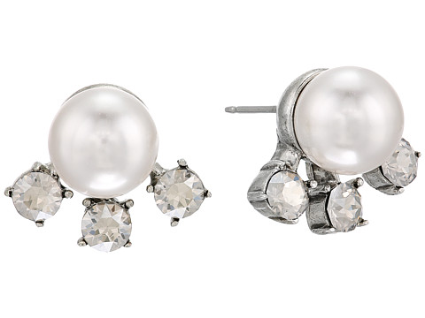 Oscar de la Renta Scattered Pearl and Crystal P Earrings - Crystal Shade/Silver