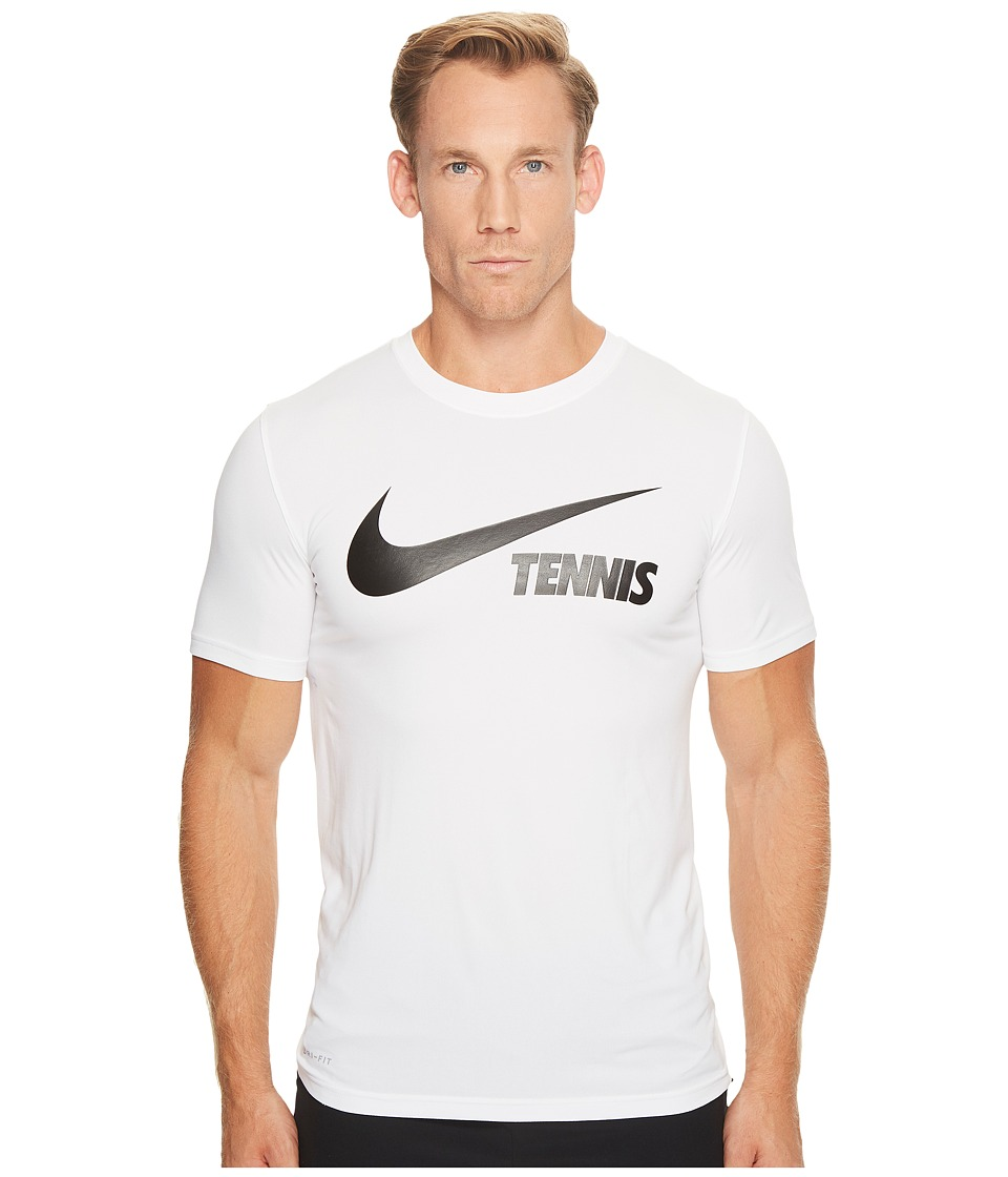 Nike Court Dry Tennis Tee (White/Black) Men