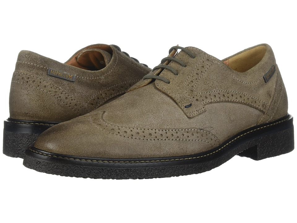 Mephisto - Geffray (Dark Taupe Washed) Mens Lace Up Wing Tip Shoes
