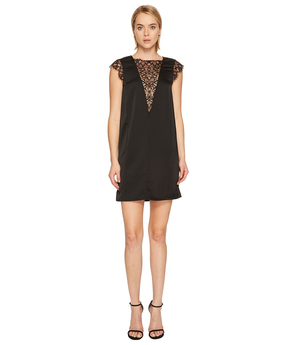 Manila Grace Cap Sleeve Lace Front Dress (Black) Women