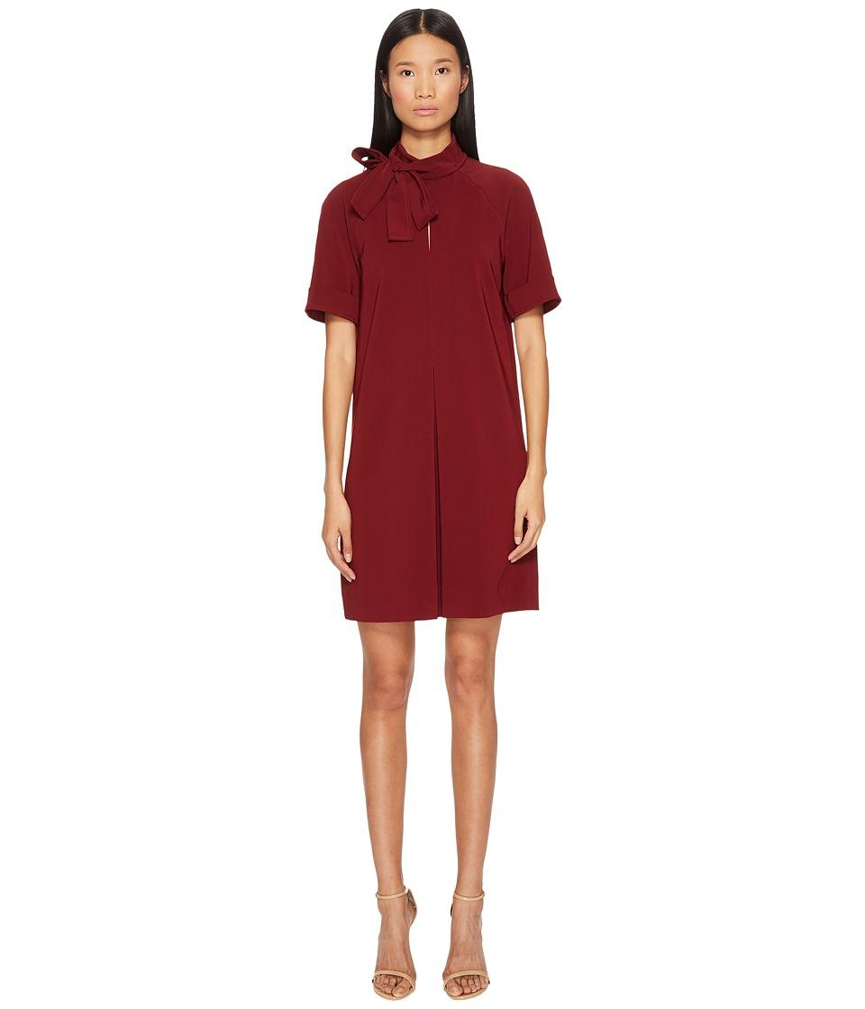 Manila Grace 3/4 Sleeve Bow Neck Dress (Borgogna) Women