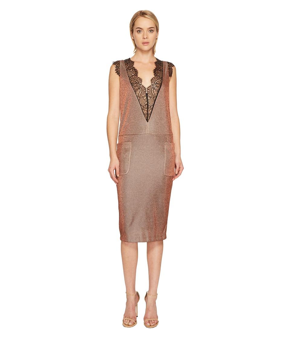 Manila Grace Sleeveless V-Neck Lace Trim Dress (Borgogna) Women