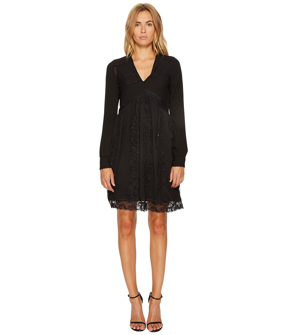 Manila Grace Long Sleeve V-Neck Dress (Black) Women