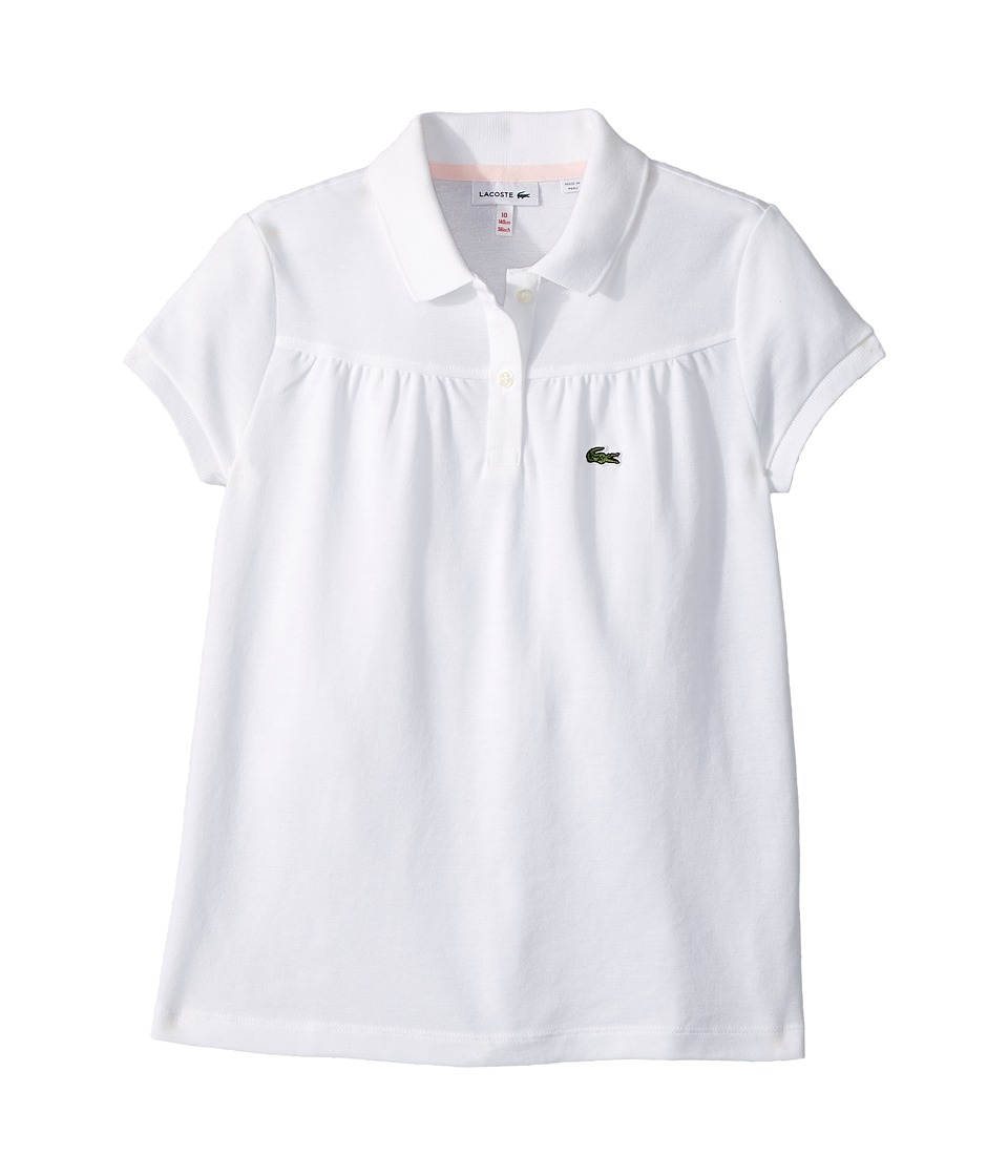 Lacoste Kids - Pique Polo with Gathers (Toddler/Little Kids/Big Kids) (White/Flamingo) Girls Clothing