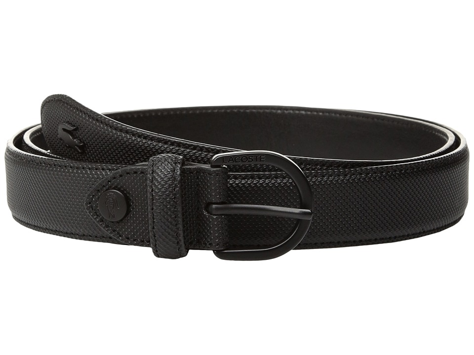 Lacoste - 25 Curved Stitched In Box (Black) Womens Belts