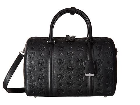 MCM Essential Monogrammed Leather Medium Boston - Black