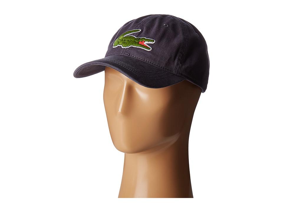 Lacoste - Big Croc Gabardine Cap (Graphite) Baseball Caps