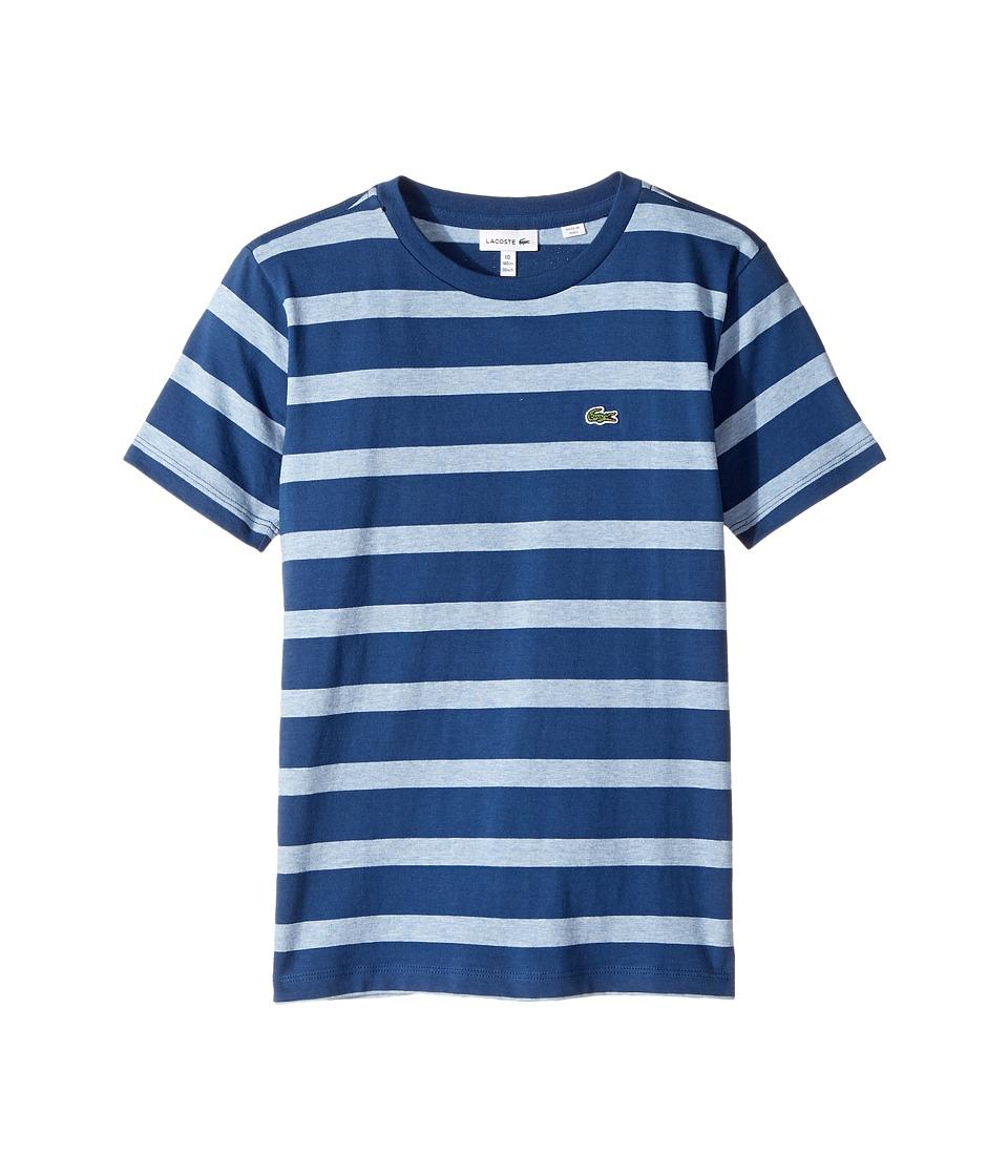 Lacoste Kids - Short Sleeve Heathered Stripe Crew Neck Tee Shirt
